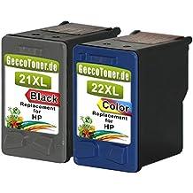 Alaskaprint Refilled Cartucho de tinta Reemplazo para hp 21 xl + hp 22 xl (Negro, Color 2-Pack)