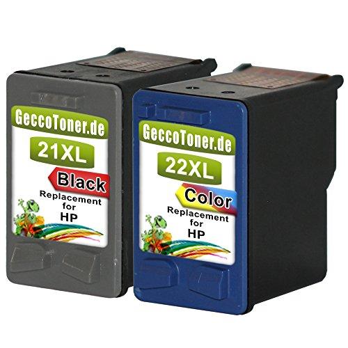 Preisvergleich Produktbild Premium 2er Set Kompatible Tintenpatronen als Ersatz für HP 21 XL + HP 22 XL Druckerpatronen für hp deskjet d1560 hp deskjet f380 hp deskjet f4180 hp deskjet f2180 hp psc 1410 patronen (Schwarz , Farbig) 1x21-1x22-hp