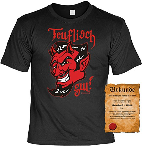 Witziges Spaß-Shirt + gratis Fun-Urkunde: Teuflisch gut! Schwarz
