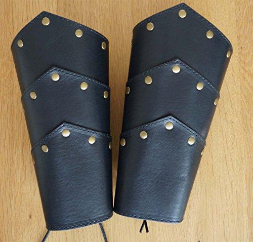 MAYLYNN Armschützer Armstulpen Armschienen Mittelalter Wikinger LARP Schwarz-Braun Armband 1 Paar