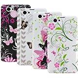 Zkiosk - Conjunto de 4 carcasa de silicona funda Sony Xperia Z1 Compact mini D5503 selección diseño 7 Flores de la mariposa (rosa/rojo/blanco/bronce/negro/púrpura/verde)