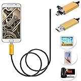 7mm endoscopio inalámbrica, 2in1USB WiFi Serpiente boroscopio [HD cámara con 6ajustable LED luz] impermeable semirrígido serpiente cable para iPhone/Android Smartphone, dorado, 5M(16.4 FT)