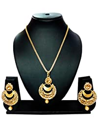 KAAYRA Designer Gold Plated Pearl & Diamond Necklace Set / Pendant Set With Chain & Earring For Girls And Women