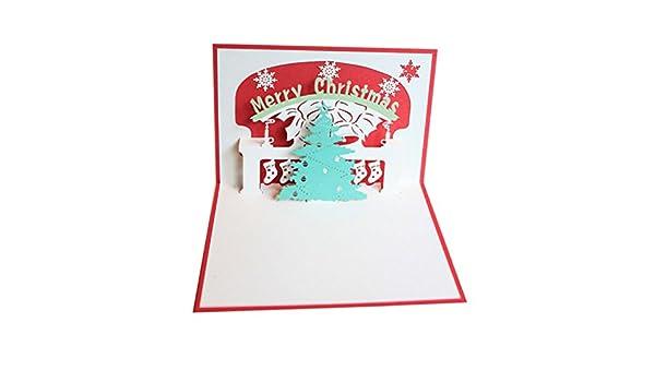 Tinksky Biglietti di Natale 3D pop-up Albero di Natale Biglietto di Auguri Regalo Natale