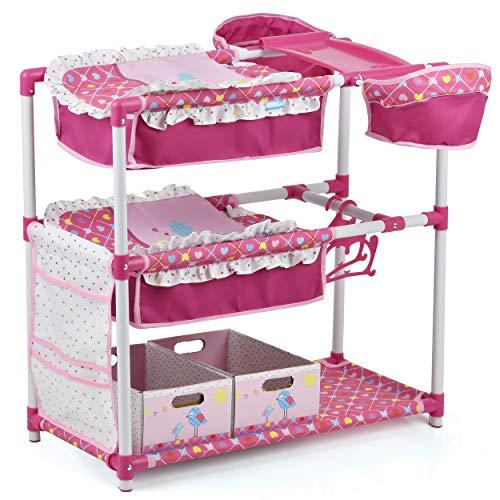 Hauck 5in1 Spielstation für Puppen und Kuscheltiere, Doppelstockbett, Wickeltisch, 2x Hochstuhl, Kleiderstange mit 2 Bügeln, 2 Spielzeugaufbewahrungsboxen - Birdie Pink