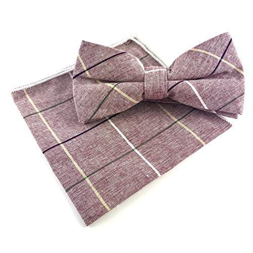 GOOD.designs Set - gebundene Baumwoll-Fliege mit Einstecktuch in verschiedenen Farben, Accessoires für Herren (Lila)