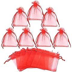 Idea Regalo - Gudotra 100pz Sacchetti Bustina Organza Portaconfetti per Nozze Regalo Caramella Partito Gioielli(7cm*9cm)