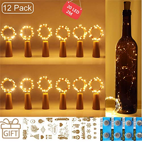 12er Pack Flaschenlicht, ANGGO Korklampen für Weinflaschen, 2m, 20 LED, Kupferdraht, Lichterketten für Partys, Hochzeit, Weihnachten DIY Innen- und Außendekoration [Energieklasse A +++]