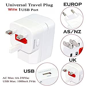 RiaTech Linetek 1000mA Universal Adapter with 1 USB Charging Port