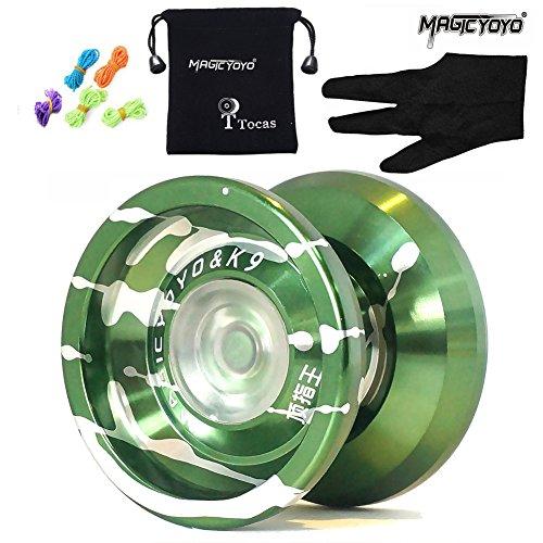 rsprüngliche Magic Yoyo K9 Top Bezieht sich auf den König Professionelle Yo-Yos Bälle mit 5 Strings + Handschuh , Aluminiumlegierung Jokugel, Kinder Spielzeug Geschenke, Grün und Silber