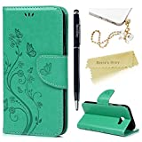 A5 2017 Case ,A5 Case (2017 Model) - Mavis's Diary PU Leather Wallet Flip Cover Classy Butterfly Flowers Embossed Design Magnetic Closure Card Holders Case for Samsung Galaxy A5 2017 with Hand Strap & Dust Plug & Stylus Pen - Mint Green