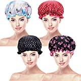 4 Pezzi Cuffia per Doccia Impermeabile Cuffia da Bagno Cappello Doccia Doppio Strato per Donne Favori (Colore Set 2)
