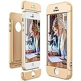 CE-Link Funda para Apple iPhone 5 5S Se Rigida 360 Grados Integral, Carcasa iPhone 5S Silicona Snap On Diseño Antigolpes Choque Absorción, iPhone Se Case Bumper 3 en 1 Estructura - Oro