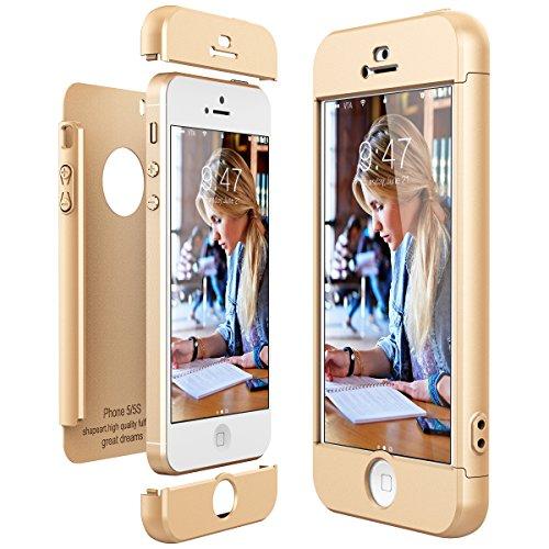 CE-Link für iPhone SE/iPhone 5/iPhone 5s Hülle Hardcase 3 in 1 Ultra Dünn 360 Full Body Schutz Schutzhülle Hart PC Skin Bumper Handyhülle -- Gold