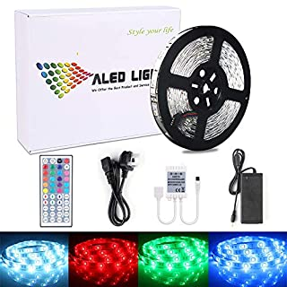 ALED LIGHT 10M 5050 RGB Colour Changing LED Strips Lights Rope Lights with 44Key IR Remote Controller+24V 6A AC UK Plug Adapter Power Supply for Home Lighting Kitchen Decoration (300 LEDs)