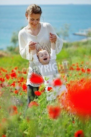 "Alu-Dibond-Bild 50 x 80 cm: ""Mother playing with her toddler child in poppy field"", Bild auf Alu-Dibond"