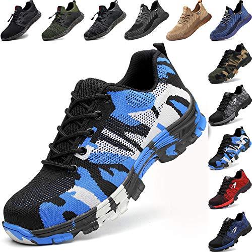 BAOLESEM Sicherheitsschuhe Herren Arbeitsschuhe Damen S3 Sportlich Leicht Atmungsaktiv Schutzschuhe Stahlkappe Schuhe, 04 Blau, 40 EU
