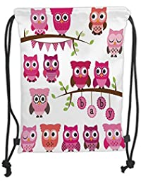 GONIESA Drawstring Sack Backpacks Bags,Nursery,Girl Baby Shower Themed Owls and Branches Adorable