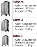 Hartschale Hartschalenkoffer Hard Shell Solo Trolley Koffer Reisekoffer Gepäck Rollkoffer ABS-Schale – Alu-Teleskopgriff – gummierte Rollen – Zahlenschloss – XL silber - 2