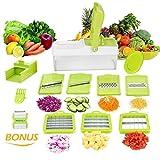 11 en 1 Mandolina de Cocina Cortadores para Patatas y Verduras Cortador de Verduras y Rallador Multifuncional Utensilios de Cocina Profesional para Cortar Frutas Verduras (10 piezas + 1 Pelador)
