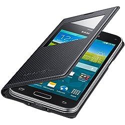 Samsung S-View Hülle Case Cover für Samsung Galaxy S5 Mini Punching Pattern - Schwarz