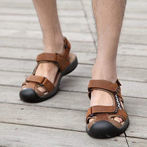 Chaussures De Marche Hommes Sandales Nouveau Baotou Été Décontracté Sport Sandales Pêcheurs Plage Toile De Fond Plage En Cuir Plage Plage Randonnée Marron