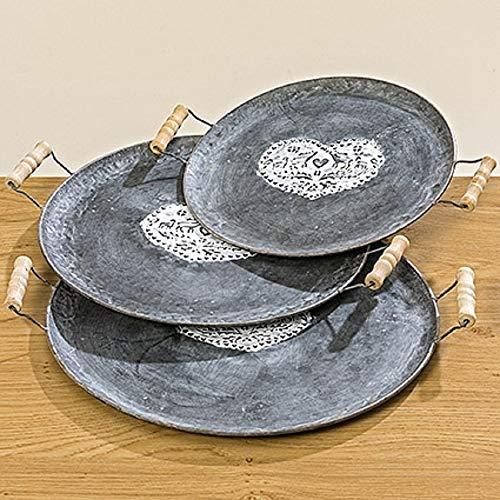 EllasDekokrempel Heidi Plateau décoratif en Zinc Gris 46 cm