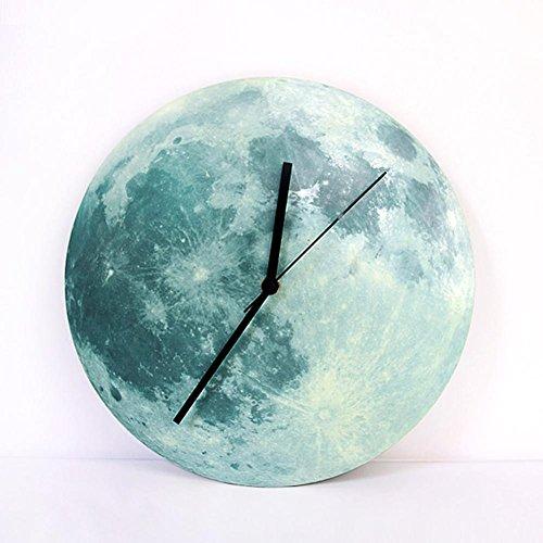 Preisvergleich Produktbild GUAZ Leuchten im Dunkeln Mond Wanduhr,  romantische Leuchtenden Mond Home Decor,  Quarz Sweep Bewegung,  Stille für Schlafzimmer,  30 cm 12 ''