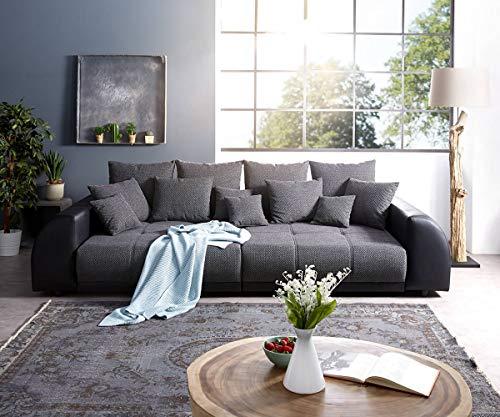 DELIFE Bigsofa Violetta Schwarz 310×135 cm inklusive Kissen Big-Sofa