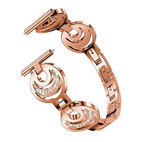 Gimartuk Band, für Fitbit Versa Bands Frauen Bling Edelstahl Ersatz Band verstellbar Armband Silber Rose Gold Schwarz, damen, rose gold, 5.1-7.5 inch (7 Zoll Gold-armband)