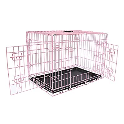 Greenbay Pets Crate Double Doors Foldable Metal Puppy Dog Cage with Tray Training Traveling Crate