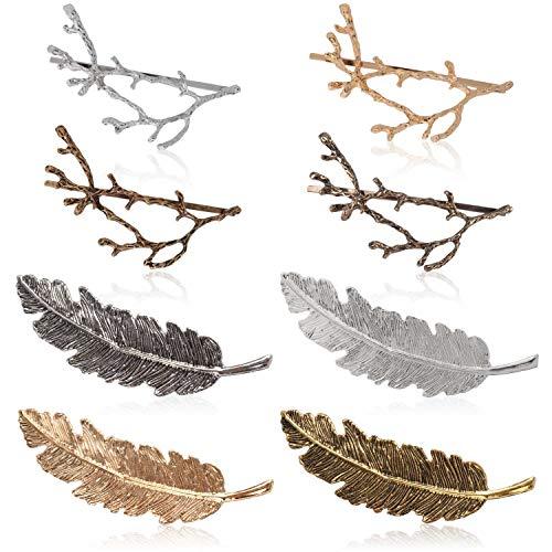 Zoylink 8 Stück Vintage Haarspange Metall Barrette Baum Zweig Legierungs Blatt Art Haarnadel