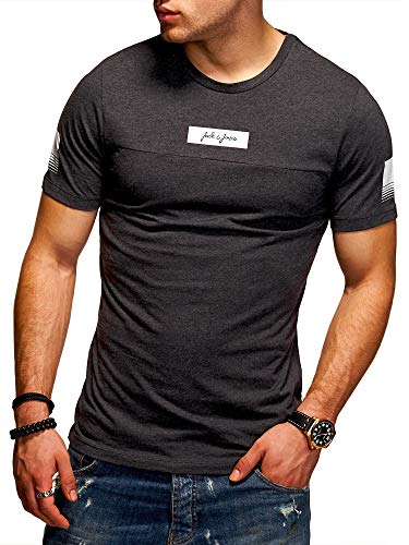 JACK & JONES Herren T-Shirt O-Neck Print Shirt (S, Dark Grey Melange) (- Print)