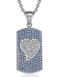 Magic Heart Austrian Crystals Amulet Love Energy Sky Blue and White Dog Tag Pendant 22 Inch Necklace