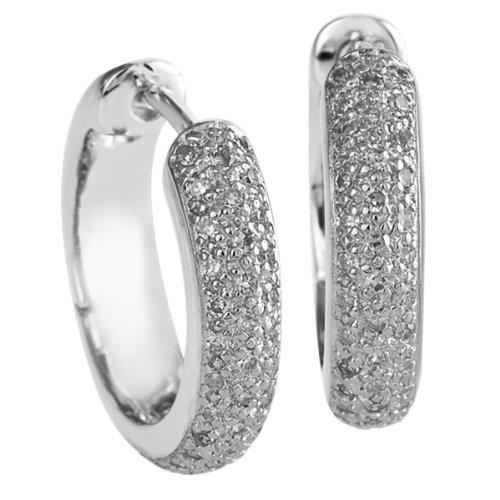 Bella Donna - Orecchini a cerchio da donna con diamante (0,4 ct), oro bianco 8k (333), cod. 107444