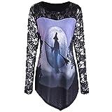 Luckycat Frauen Halloween Printed Design T-Shirt Bluse Spitzeneinsatz Shirt Top Mode 2018