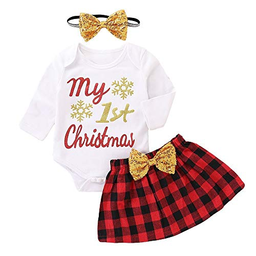 BaZhaHei Baby Kleine Lange Ärmel Weihnachten Brief Drucken Ha Yi + Schottenkaro Gestreifter Rock + Haarband Dreiteiliger Anzug ()