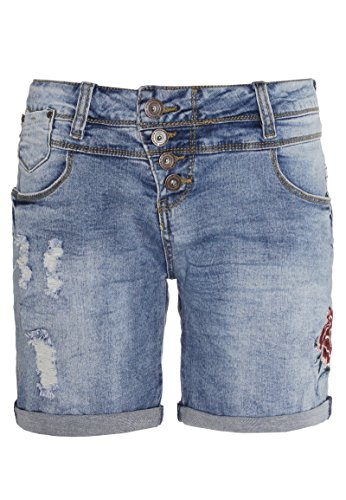 Rock Angel Damen Denim Bermuda BROOK mit Stickereien | Jeans-Shorts | Kurze Hose middle-blue XS