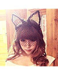 Wuiyepo Bandes Rabbit Girl Fashion dentelle Rabbit Ears Veil Cheveux Masque Noir Bandeaux