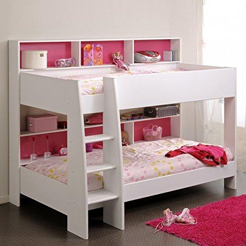 Preisvergleich Produktbild Jugendmöbel24.de Etagenbett weiß inkl Regale + Rückwand + Boden für Matratzen Stockbett Doppelstockbett Hochbett Spielbett Kinderbett Kinderzimm