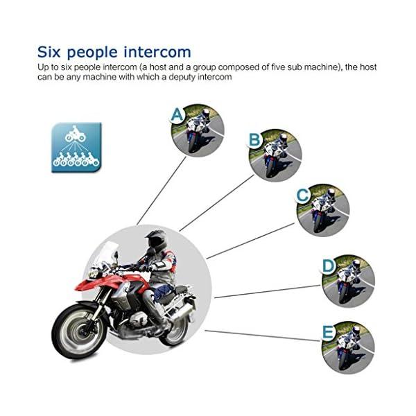 Excelvan V6 Pro Intercomunicacion Entre 6 Motociclistas, Enchufe de EU BT 2/×Auriculares Intercomunicador Bluetooth para Casco de Motocicleta Moto Intercom Headset 1200M,