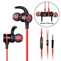 Wired Earphones, Parasom R2 Magnet Attraction Sport In-Ear Earbuds Heaphones Earphones with Mic Stereo Bass & Phone and Track Control (Black/Red)