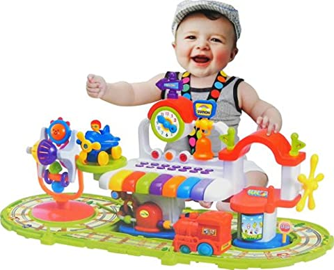 deAO Baby Station Activity Centre with Train Track and Piano - Colourful Baby Gym with Music and