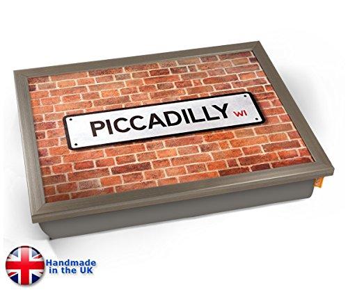 Piccadilly UK Street Road Sign Cushion Lap Tray Kissen Tablett Knietablett Kissentablett - Chrome Effekt Rahmen -