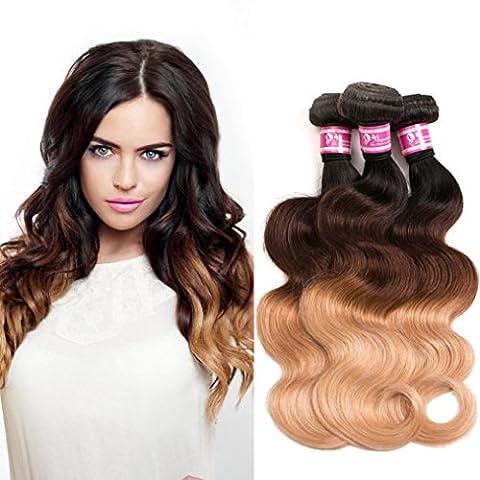 Cheveux brésiliens naturels ondulés Remy, ANNMODE 9A, 3tons T1B/4/27, Extensions de cheveux, Trame de tissage avec longueur mixte 3 touffes /
