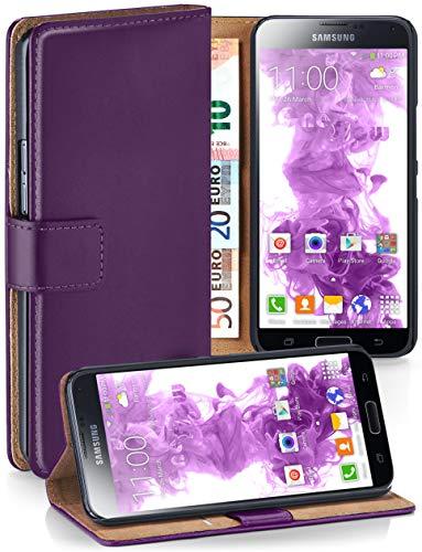 moex Samsung Galaxy S5 Mini | Hülle Lila mit Karten-Fach 360° Book Klapp-Hülle Handytasche Kunst-Leder Handyhülle für Samsung Galaxy S5 Mini Case Flip Cover Schutzhülle Tasche