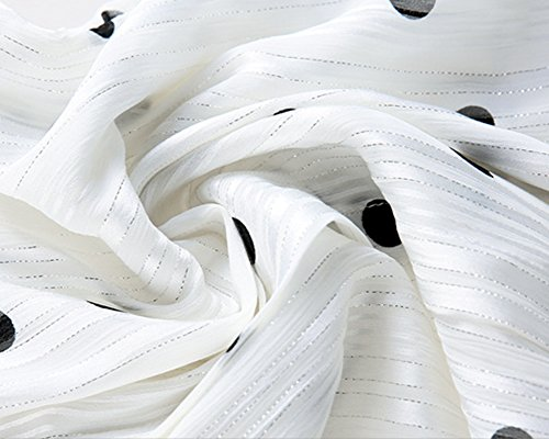 Robe Chemise Femme Noire et Blanche à Pois Transparente Manche Longue Blouse Longue Col Chemisier Blanc