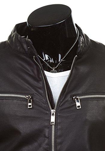 BOLF Ökolederjacke Herrenjacke Sweatjacke Zipper Kunstlederjacke J.BOYZ 8001 Schwarz