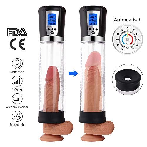 MEROURII Penispumpen Auto Puls Masturbator für Männer Penis Erektion Vergrößerung Penis Stimulation Trainer Viergang Elektrisches Sexspielzeug, ABS Silikon LED-Anzeige USB-Lade Schwarz mit 2 Penisring