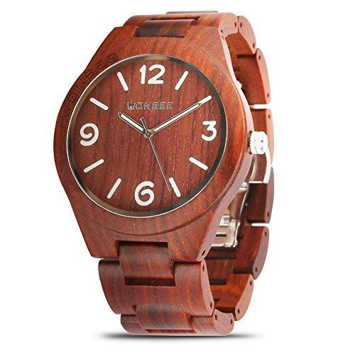 Hersteller Serie (WONBEE Holzuhr für Männer und Frauen - Handgefertigte Kunsthandwerk Holz Uhren-Holz Uhrenarmband-Holz Lünette rote sandelholz Armbanduhr - ARABTOON Serie)